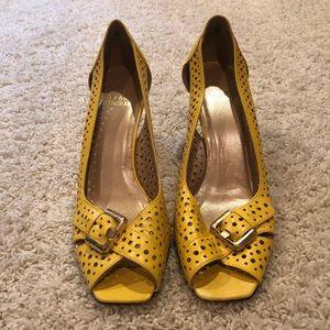 Yellow Stuart Weitzman 2 1/2 inch heels